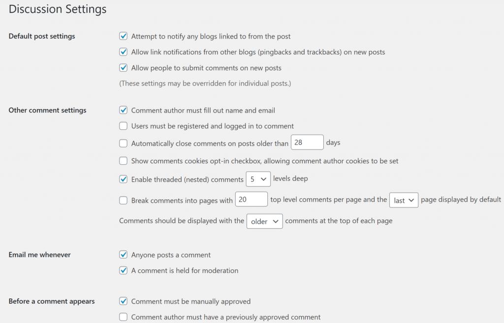 Wordpress-Settings-Discussion