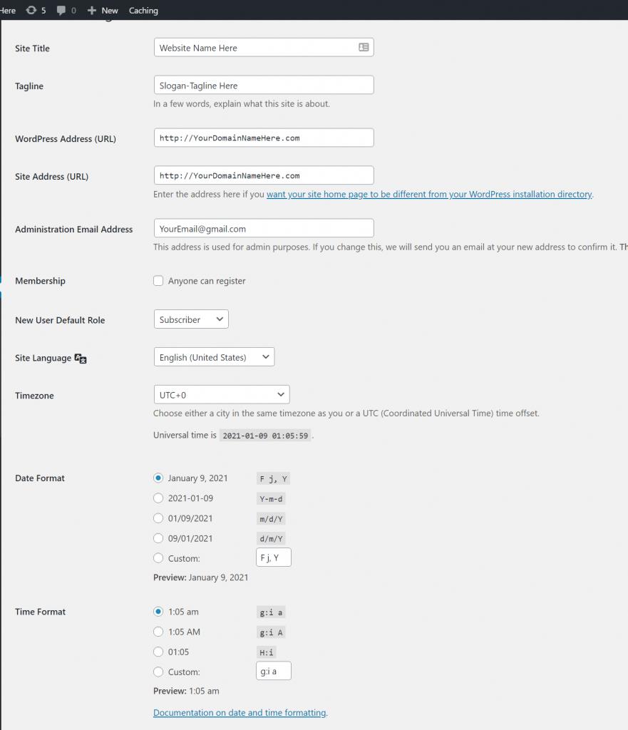 Wordpress-Settings-General