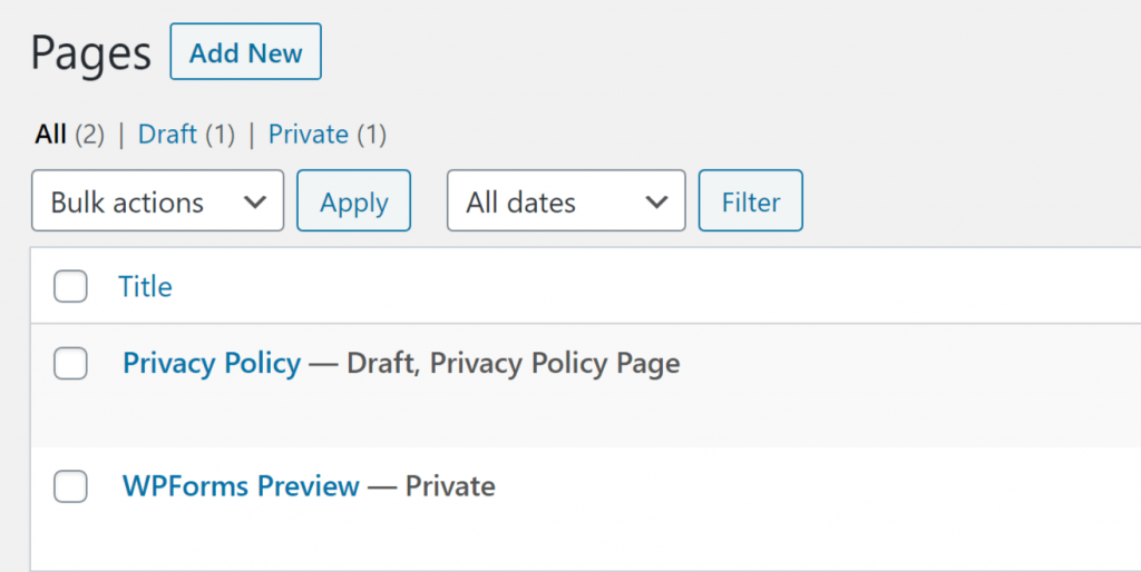 Wordpress Settings-Pages